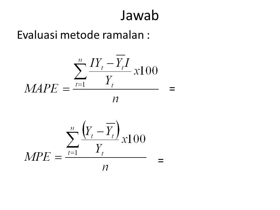 Jawab Evaluasi metode ramalan : =