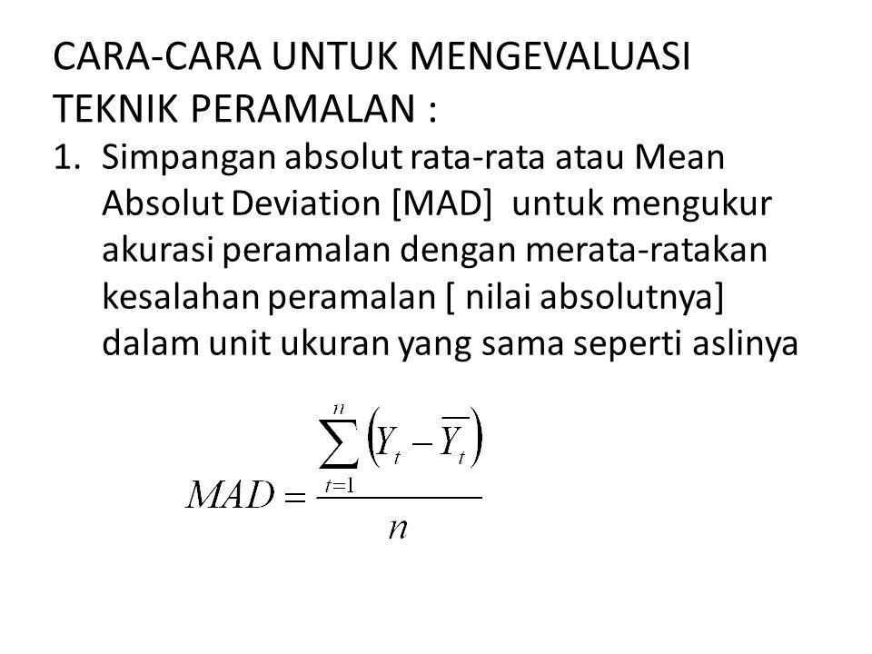 CARA-CARA UNTUK MENGEVALUASI TEKNIK PERAMALAN : 1.Simpangan absolut rata-rata atau Mean Absolut Deviation [MAD] untuk mengukur akurasi peramalan denga