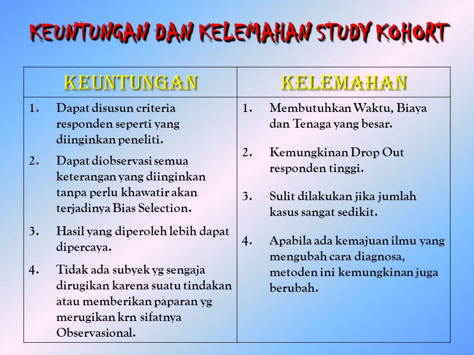 KEUNTUNGAN DAN KELEMAHAN STUDY KOHORT KEUNTUNGANKELEMAHAN 1.Dapat disusun criteria responden seperti yang diinginkan peneliti. 2.Dapat diobservasi sem
