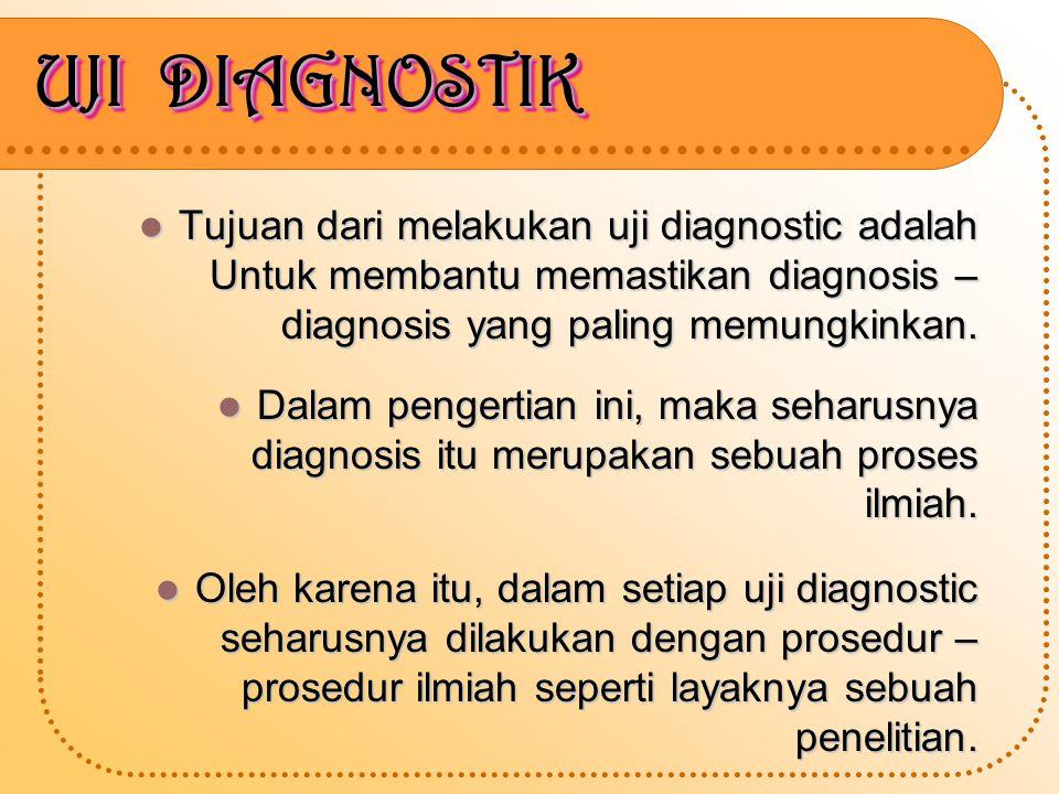 UJI DIAGNOSTIK Tujuan dari melakukan uji diagnostic adalah Untuk membantu memastikan diagnosis – diagnosis yang paling memungkinkan.