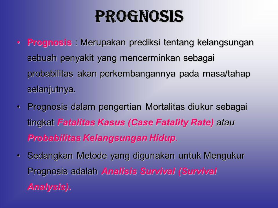 PROGNOSIS Prognosis : Merupakan prediksi tentang kelangsungan sebuah penyakit yang mencerminkan sebagai probabilitas akan perkembangannya pada masa/ta