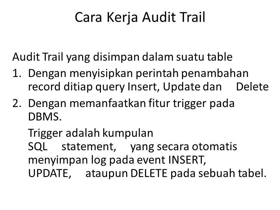 Cara Kerja Audit Trail Audit Trail yang disimpan dalam suatu table 1.Dengan menyisipkan perintah penambahan record ditiap query Insert, Update dan Delete 2.Dengan memanfaatkan fitur trigger pada DBMS.