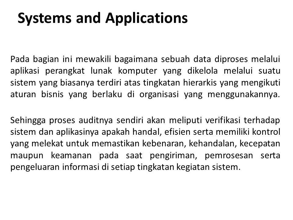 Systems and Applications Pada bagian ini mewakili bagaimana sebuah data diproses melalui aplikasi perangkat lunak komputer yang dikelola melalui suatu sistem yang biasanya terdiri atas tingkatan hierarkis yang mengikuti aturan bisnis yang berlaku di organisasi yang menggunakannya.