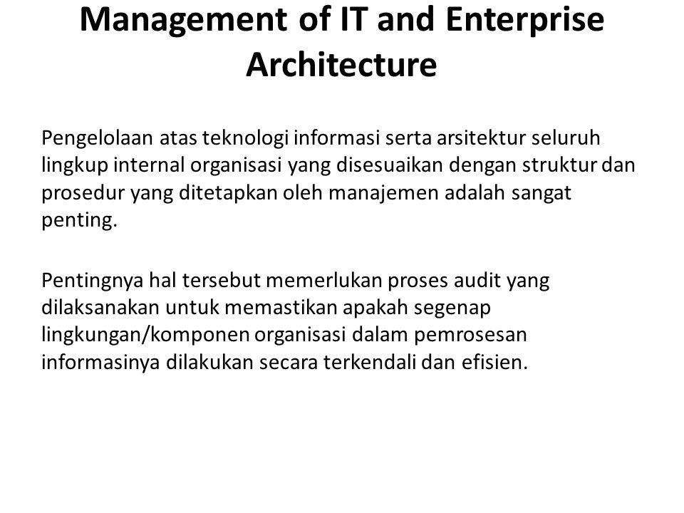 Management of IT and Enterprise Architecture Pengelolaan atas teknologi informasi serta arsitektur seluruh lingkup internal organisasi yang disesuaikan dengan struktur dan prosedur yang ditetapkan oleh manajemen adalah sangat penting.