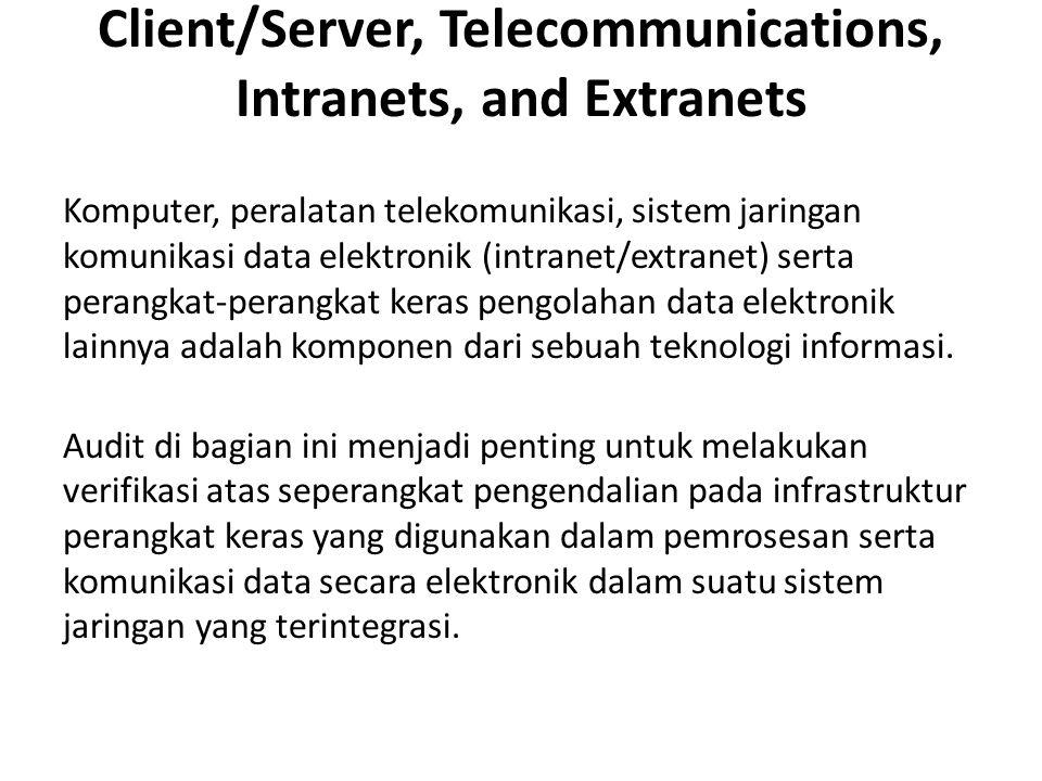 Client/Server, Telecommunications, Intranets, and Extranets Komputer, peralatan telekomunikasi, sistem jaringan komunikasi data elektronik (intranet/extranet) serta perangkat-perangkat keras pengolahan data elektronik lainnya adalah komponen dari sebuah teknologi informasi.