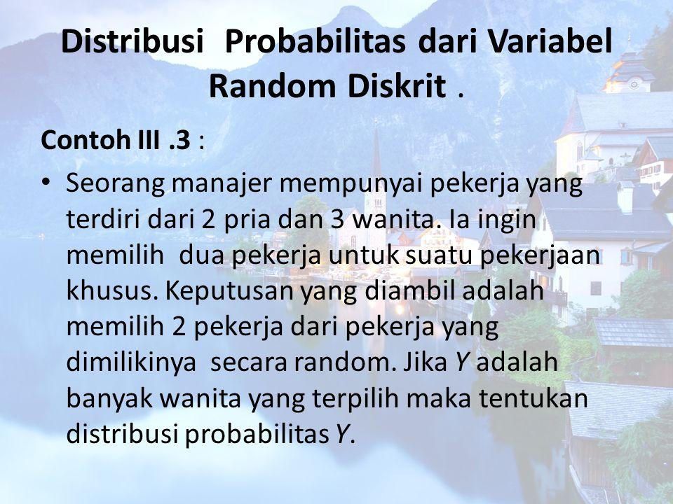 Distribusi Probabilitas dari Variabel Random Diskrit. Contoh III.3 : Seorang manajer mempunyai pekerja yang terdiri dari 2 pria dan 3 wanita. Ia ingin