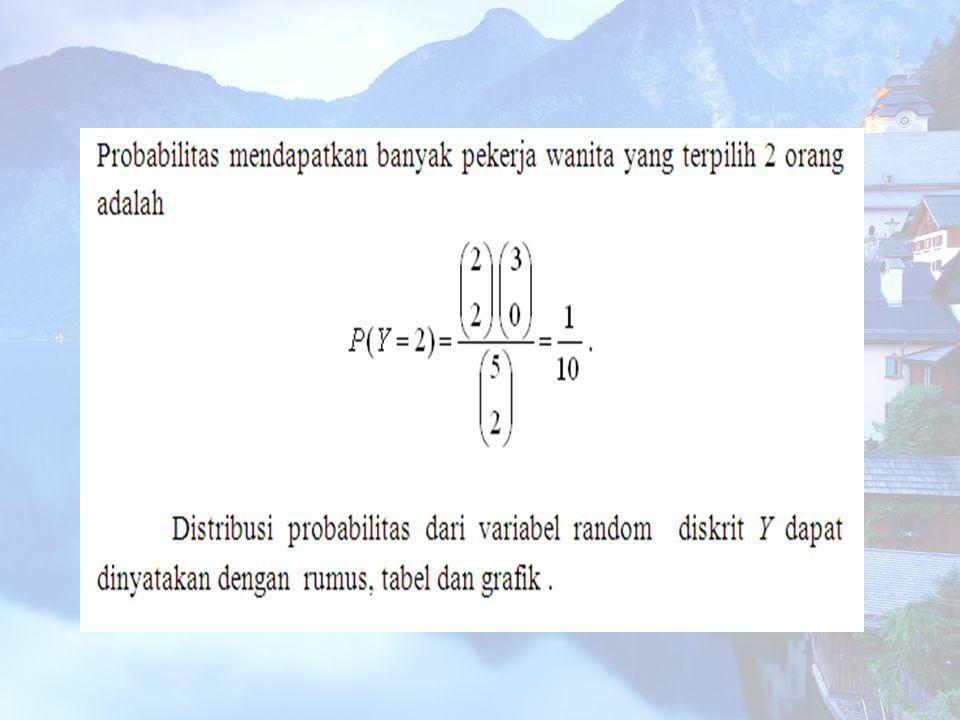 Distribusi Probabilitas Binomial Eksperimen Binomial adalah eksperimen yang mempunyai sifat-sifat sebagai berikut : Eksperimen mengandung n trial yang identik.