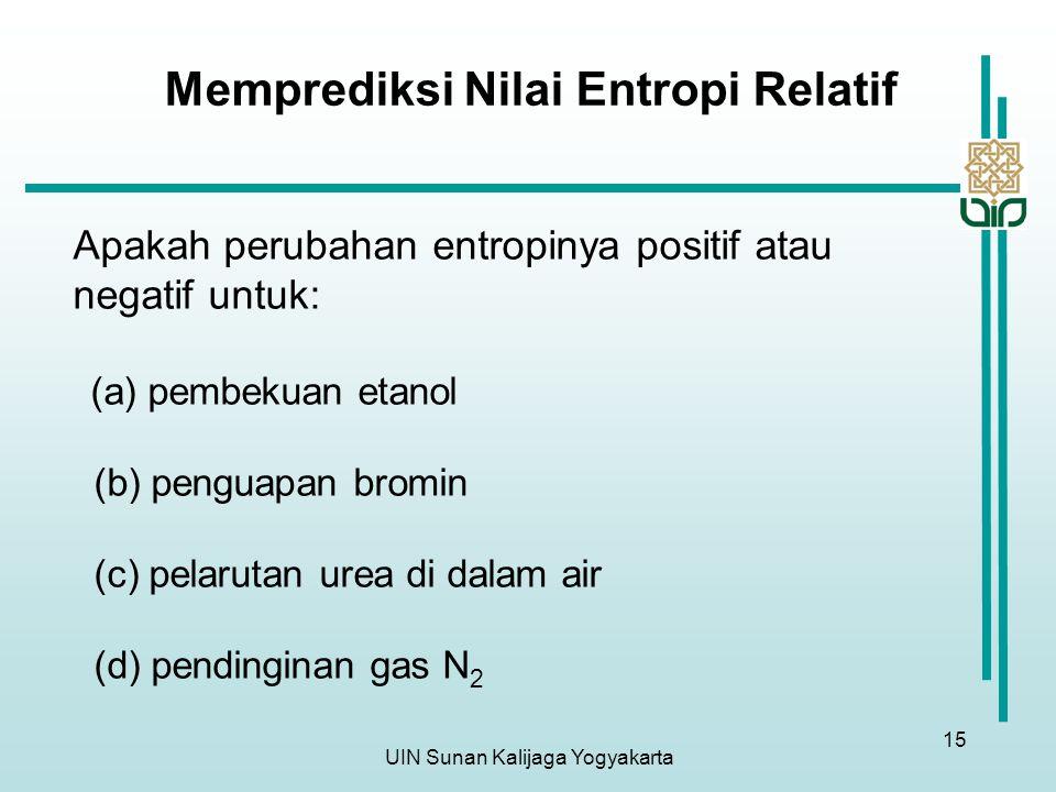 UIN Sunan Kalijaga Yogyakarta 15 Memprediksi Nilai Entropi Relatif Apakah perubahan entropinya positif atau negatif untuk: (a) pembekuan etanol (b) penguapan bromin (c) pelarutan urea di dalam air (d) pendinginan gas N 2
