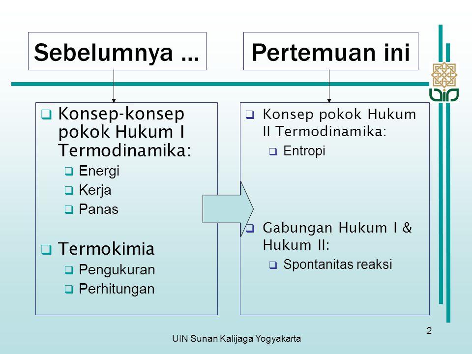 UIN Sunan Kalijaga Yogyakarta 2 Sebelumnya...  Konsep-konsep pokok Hukum I Termodinamika:  Energi  Kerja  Panas  Termokimia  Pengukuran  Perhit