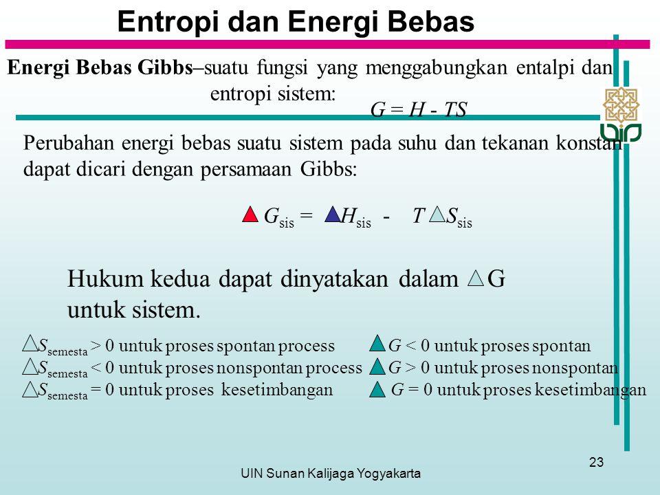UIN Sunan Kalijaga Yogyakarta 23 Entropi dan Energi Bebas Energi Bebas Gibbs–suatu fungsi yang menggabungkan entalpi dan entropi sistem: G = H - TS Perubahan energi bebas suatu sistem pada suhu dan tekanan konstan dapat dicari dengan persamaan Gibbs: G sis = H sis - T S sis S semesta > 0 untuk proses spontan process G < 0 untuk proses spontan S semesta 0 untuk proses nonspontan S semesta = 0 untuk proses kesetimbangan G = 0 untuk proses kesetimbangan Hukum kedua dapat dinyatakan dalam G untuk sistem.