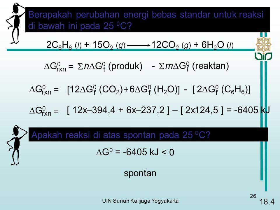 UIN Sunan Kalijaga Yogyakarta 26 2C 6 H 6 (l) + 15O 2 (g) 12CO 2 (g) + 6H 2 O (l) G0G0 rxn n  G 0 (produk) f =  m  G 0 (reaktan) f  - Berapakah perubahan energi bebas standar untuk reaksi di bawah ini pada 25 0 C.