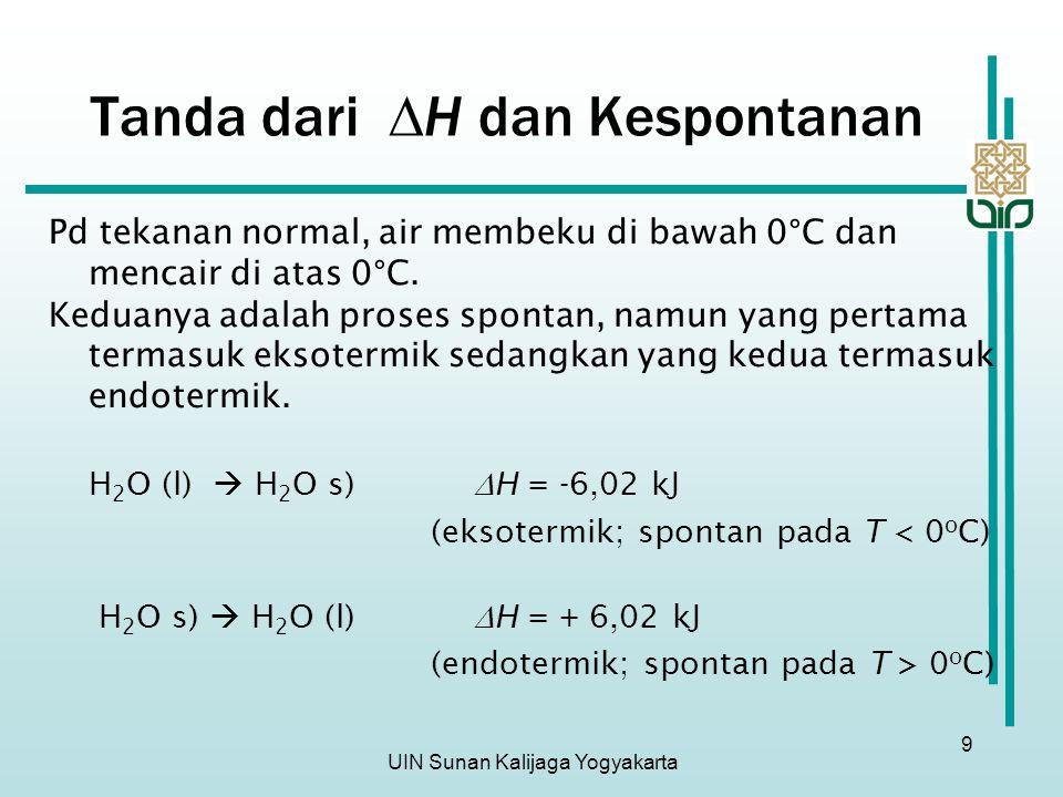 UIN Sunan Kalijaga Yogyakarta 9 Pd tekanan normal, air membeku di bawah 0°C dan mencair di atas 0°C. Keduanya adalah proses spontan, namun yang pertam