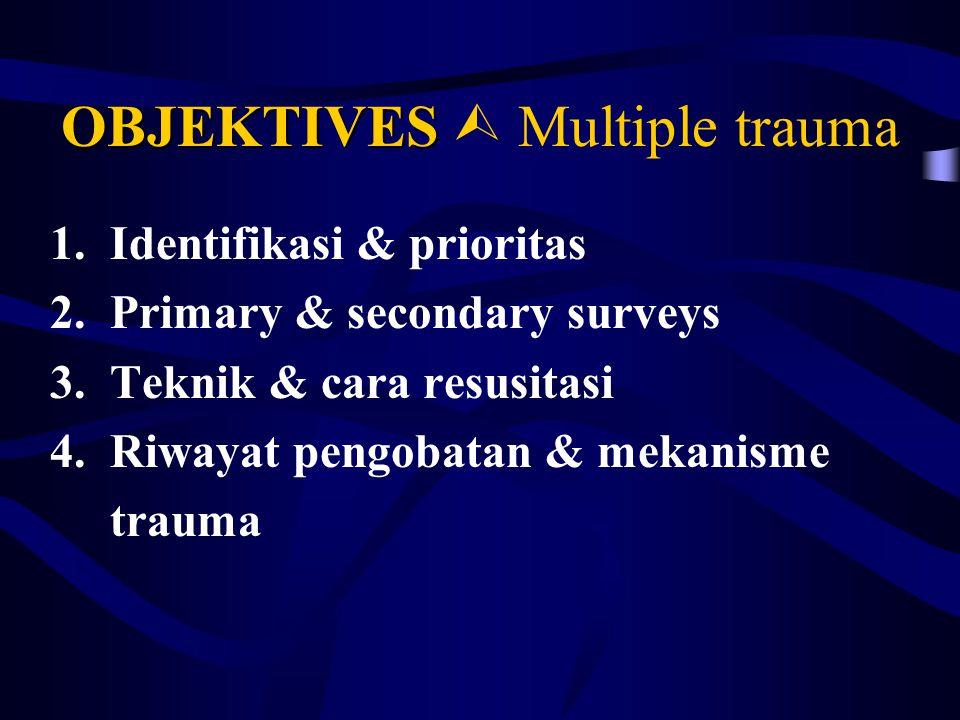 OBJEKTIVES OBJEKTIVES  Multiple trauma 1.Identifikasi & prioritas 2.