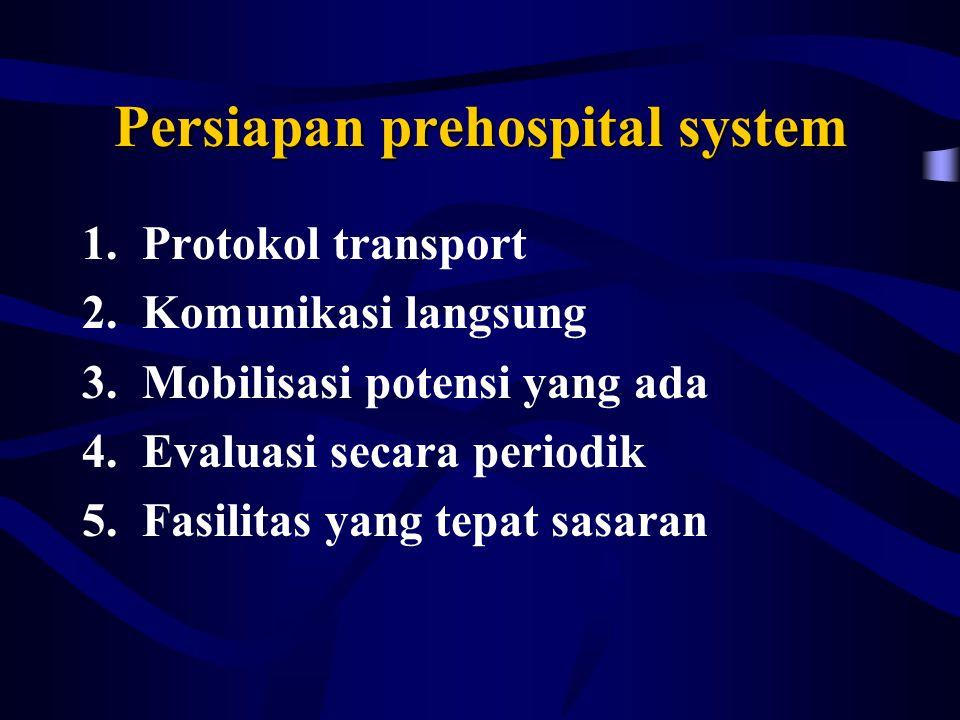 Persiapan prehospital system 1.Protokol transport 2.