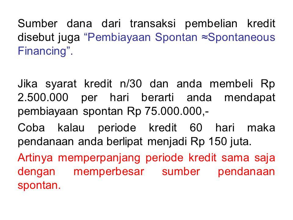"""Sumber dana dari transaksi pembelian kredit disebut juga """"Pembiayaan Spontan ≈Spontaneous Financing"""". Jika syarat kredit n/30 dan anda membeli Rp 2.50"""