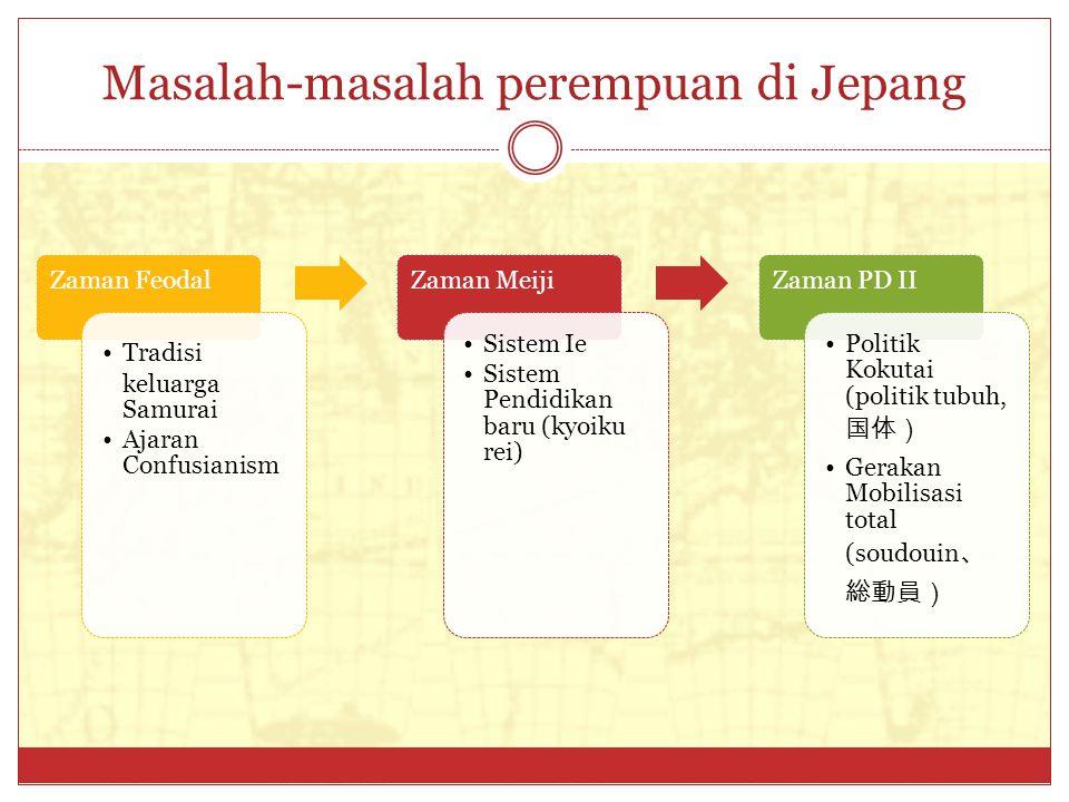 Masalah-masalah perempuan di Jepang Zaman Feodal Tradisi keluarga Samurai Ajaran Confusianism Zaman Meiji Sistem Ie Sistem Pendidikan baru (kyoiku rei