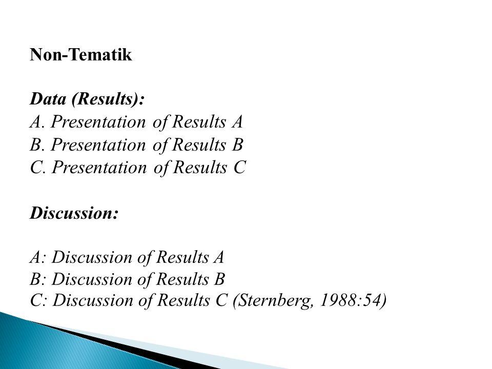 Non-Tematik Data (Results): A. Presentation of Results A B. Presentation of Results B C. Presentation of Results C Discussion: A: Discussion of Result