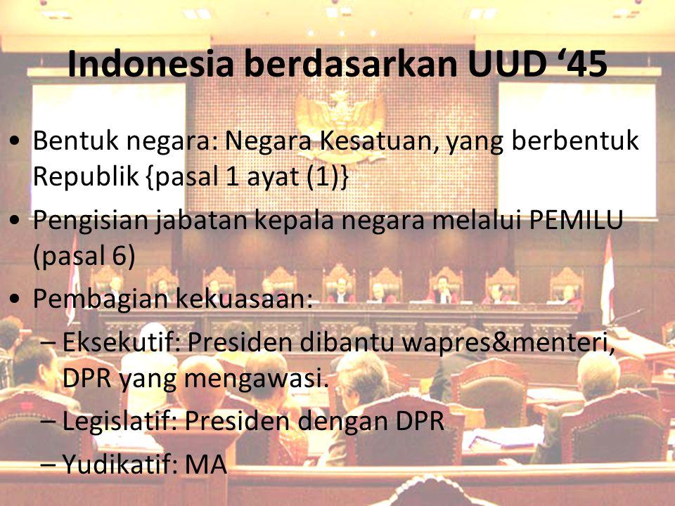 Indonesia berdasarkan UUD '45 Bentuk negara: Negara Kesatuan, yang berbentuk Republik {pasal 1 ayat (1)} Pengisian jabatan kepala negara melalui PEMIL