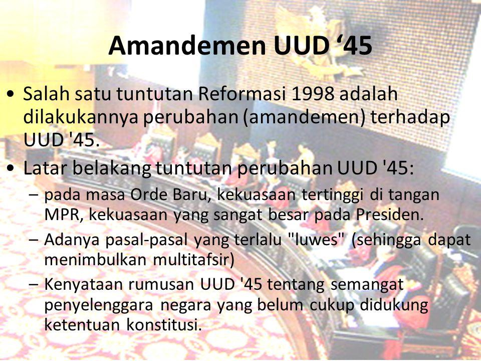 Amandemen UUD '45 Salah satu tuntutan Reformasi 1998 adalah dilakukannya perubahan (amandemen) terhadap UUD '45. Latar belakang tuntutan perubahan UUD