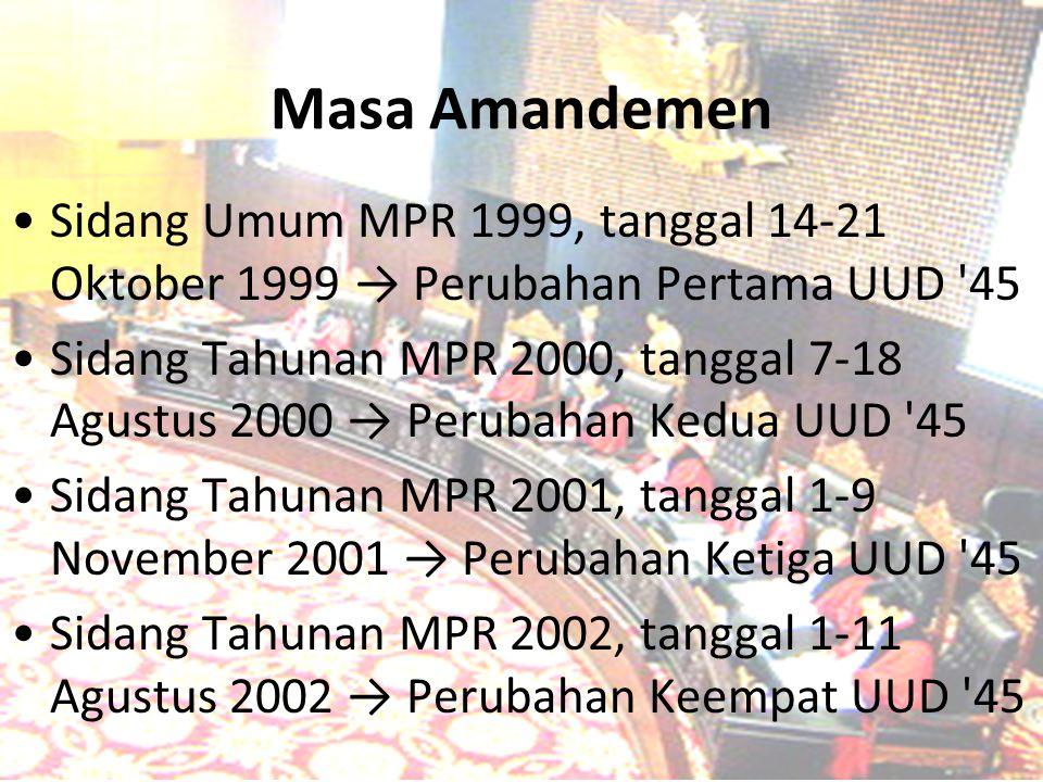 Masa Amandemen Sidang Umum MPR 1999, tanggal 14-21 Oktober 1999 → Perubahan Pertama UUD '45 Sidang Tahunan MPR 2000, tanggal 7-18 Agustus 2000 → Perub