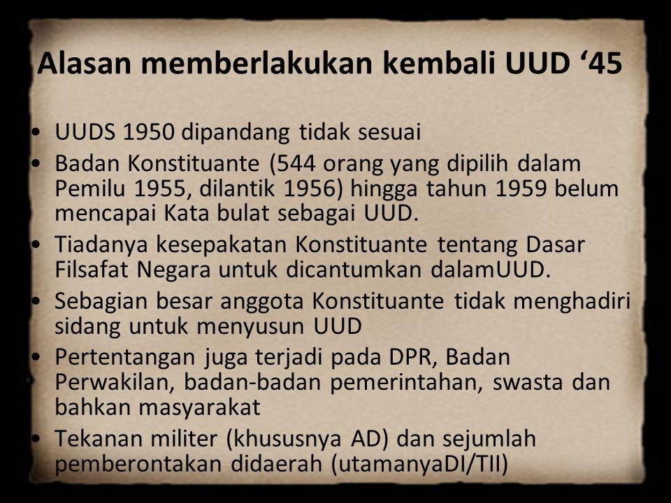 Alasan memberlakukan kembali UUD '45 UUDS 1950 dipandang tidak sesuai Badan Konstituante (544 orang yang dipilih dalam Pemilu 1955, dilantik 1956) hin