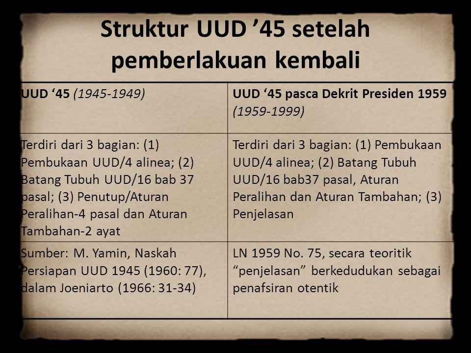 Struktur UUD '45 setelah pemberlakuan kembali UUD '45 (1945-1949)UUD '45 pasca Dekrit Presiden 1959 (1959-1999) Terdiri dari 3 bagian: (1) Pembukaan U