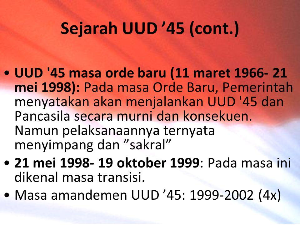 UUD '45 masa orde baru (11 maret 1966- 21 mei 1998): Pada masa Orde Baru, Pemerintah menyatakan akan menjalankan UUD '45 dan Pancasila secara murni da