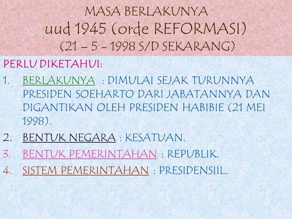 6.Alat kelengkapan negara yang ada waktu itu: 1).mpr 2).dpr 3).presiden 4).dpa 5).bpk 6).ma
