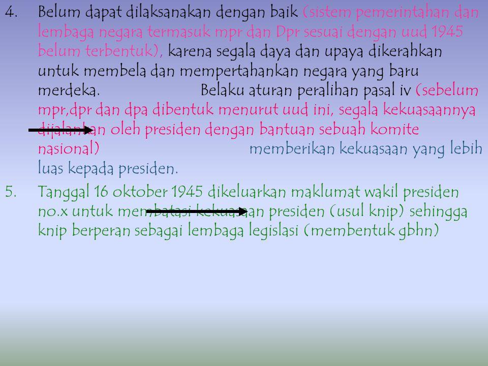 MASA BERLAKUNYA UUD 1945 (PERIODE I) 18 – 8 – 1945 S/D 27 – 12 – 1949) PERLU DIKETAHUI: 1.BERLAKUNYA BERDASARKAN KETETAPAN HASIL SIDANG PPKI 18 – 8 –