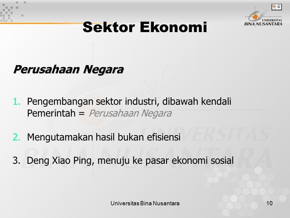 Universitas Bina Nusantara10 Sektor Ekonomi Perusahaan Negara 1.Pengembangan sektor industri, dibawah kendali Pemerintah = Perusahaan Negara 2.Menguta