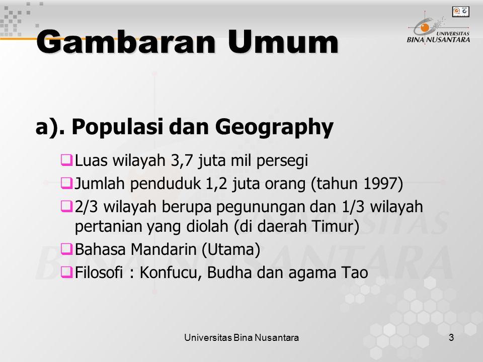 Universitas Bina Nusantara3 Gambaran Umum a). Populasi dan Geography  Luas wilayah 3,7 juta mil persegi  Jumlah penduduk 1,2 juta orang (tahun 1997)