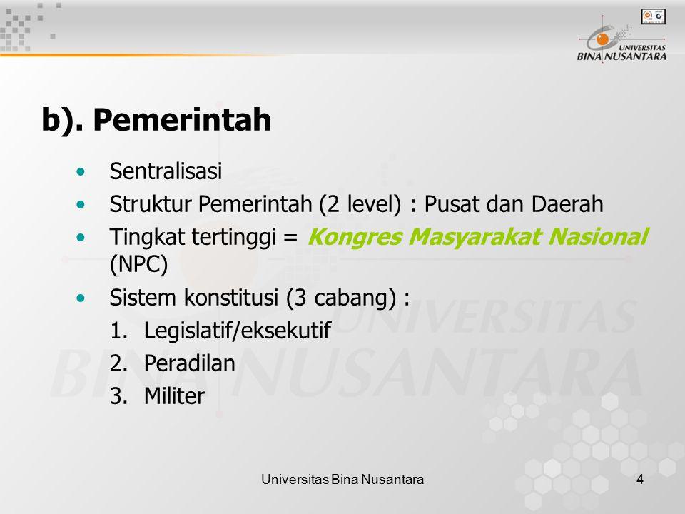 Universitas Bina Nusantara4 b). Pemerintah Sentralisasi Struktur Pemerintah (2 level) : Pusat dan Daerah Tingkat tertinggi = Kongres Masyarakat Nasion