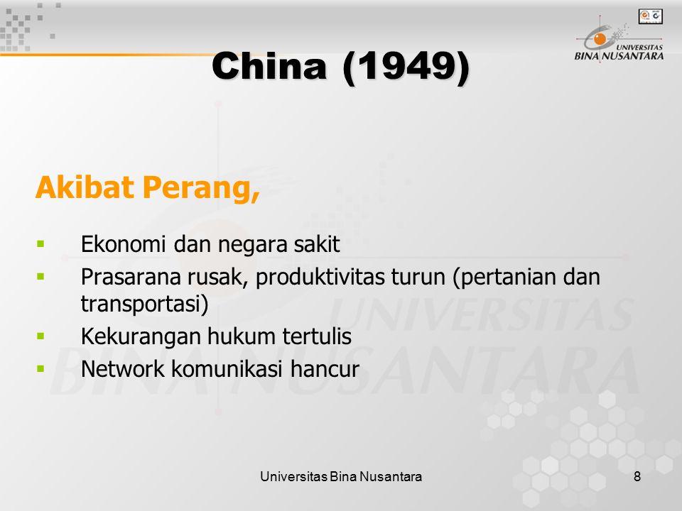 Universitas Bina Nusantara8 Akibat Perang,  Ekonomi dan negara sakit  Prasarana rusak, produktivitas turun (pertanian dan transportasi)  Kekurangan