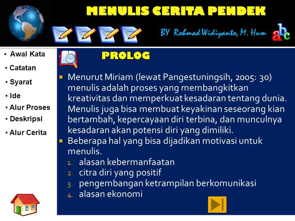 MENULIS CERITA PENDEK BY Rohmad Widiyanto, M. Hum Awal Kata Awal Kata Catatan Catatan Syarat Syarat Ide Ide Alur Proses Deskripsi Alur Cerita  PROLOG