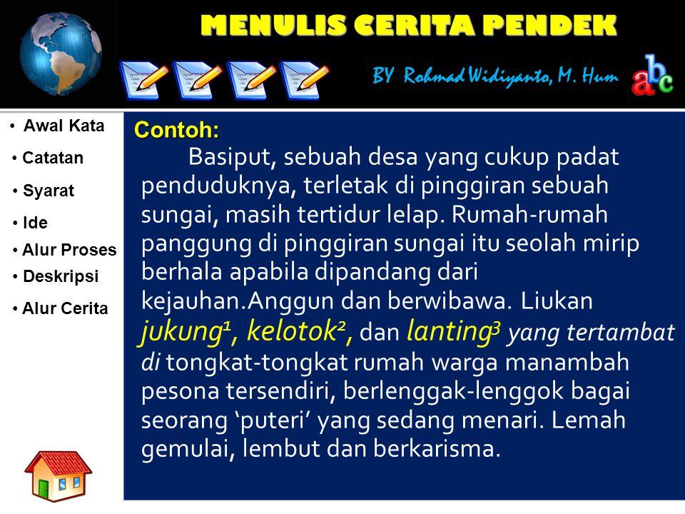 MENULIS CERITA PENDEK BY Rohmad Widiyanto, M. Hum Awal Kata Awal Kata Catatan Catatan Syarat Syarat Ide Ide Alur Proses Deskripsi Alur Cerita Contoh: