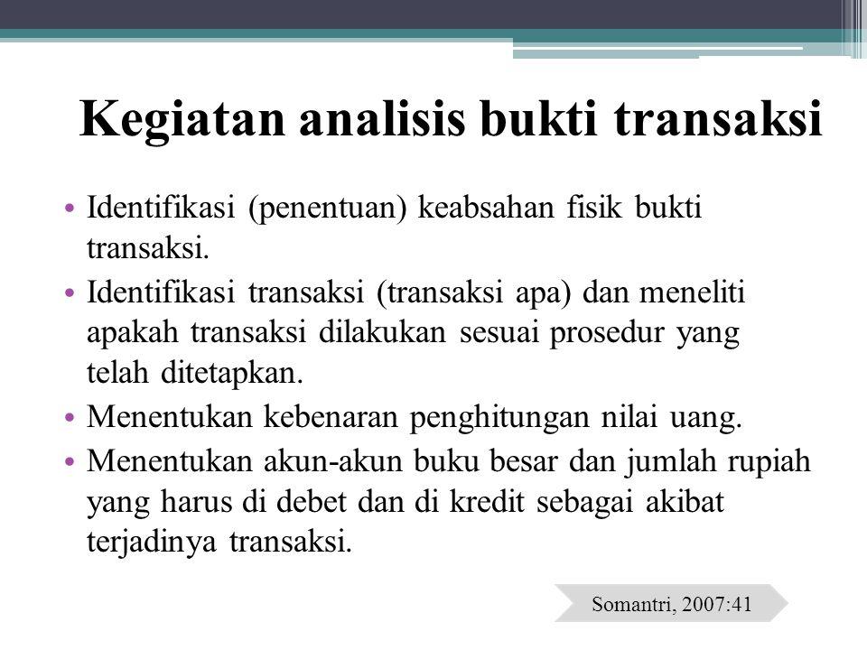 Kegiatan analisis bukti transaksi Identifikasi (penentuan) keabsahan fisik bukti transaksi. Identifikasi transaksi (transaksi apa) dan meneliti apakah