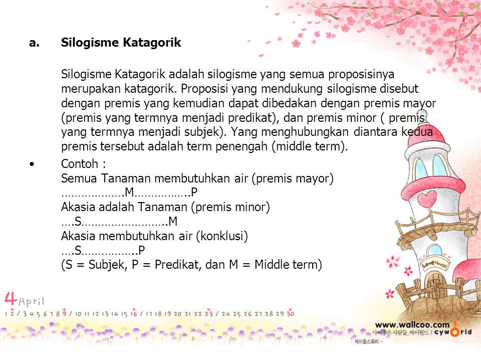 a.Silogisme Katagorik Silogisme Katagorik adalah silogisme yang semua proposisinya merupakan katagorik. Proposisi yang mendukung silogisme disebut den