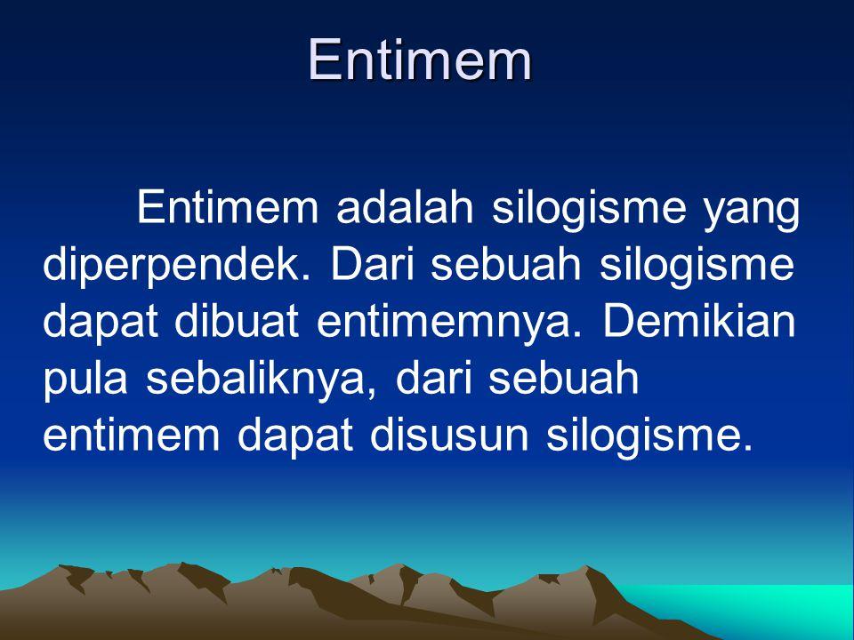 Entimem Entimem adalah silogisme yang diperpendek. Dari sebuah silogisme dapat dibuat entimemnya. Demikian pula sebaliknya, dari sebuah entimem dapat