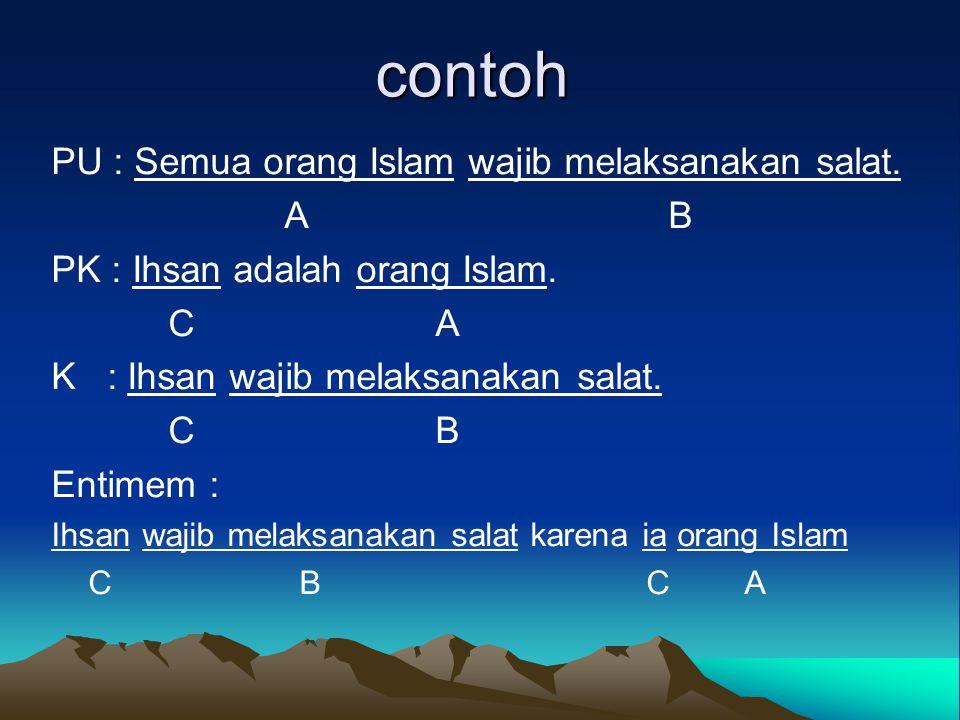 contoh PU : Semua orang Islam wajib melaksanakan salat. A B PK : Ihsan adalah orang Islam. CA K : Ihsan wajib melaksanakan salat. CB Entimem : Ihsan w