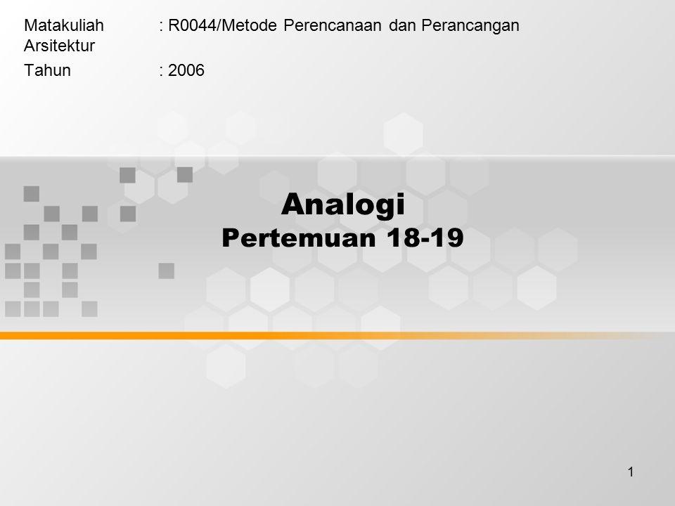 1 Analogi Pertemuan 18-19 Matakuliah: R0044/Metode Perencanaan dan Perancangan Arsitektur Tahun: 2006