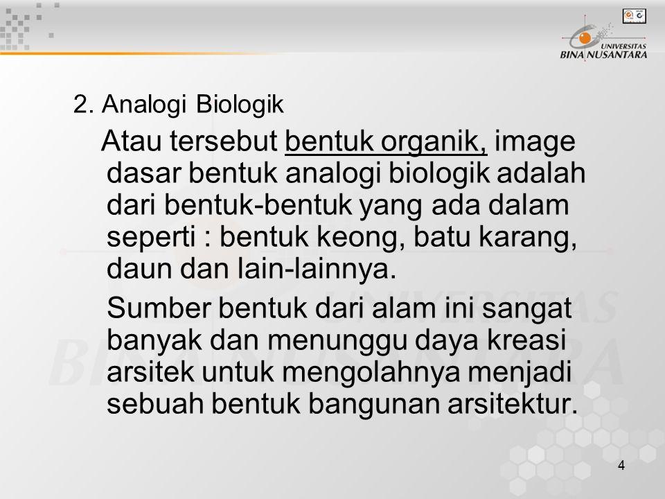 4 2. Analogi Biologik Atau tersebut bentuk organik, image dasar bentuk analogi biologik adalah dari bentuk-bentuk yang ada dalam seperti : bentuk keon