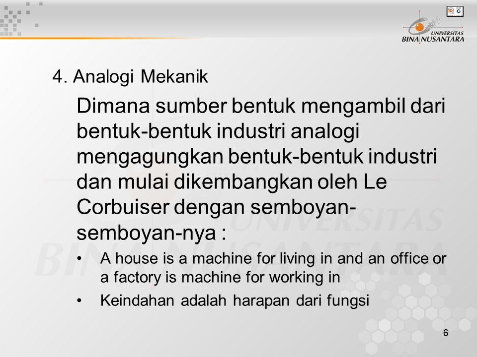 6 4. Analogi Mekanik Dimana sumber bentuk mengambil dari bentuk-bentuk industri analogi mengagungkan bentuk-bentuk industri dan mulai dikembangkan ole