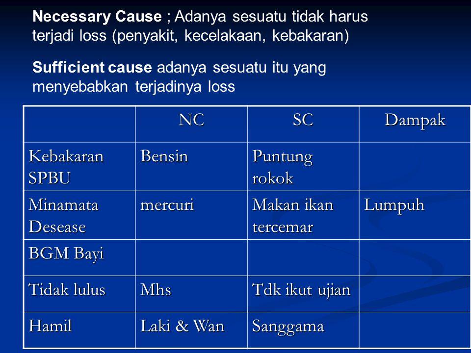 Necessary Cause ; Adanya sesuatu tidak harus terjadi loss (penyakit, kecelakaan, kebakaran) Sufficient cause adanya sesuatu itu yang menyebabkan terja