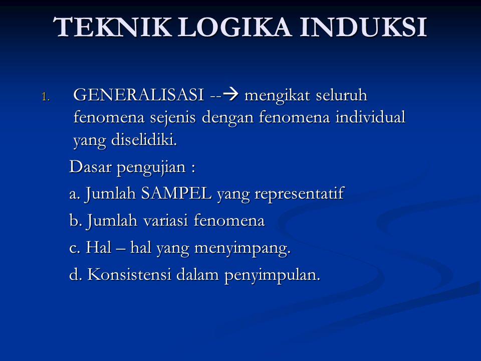 TEKNIK LOGIKA INDUKSI 1. GENERALISASI --  mengikat seluruh fenomena sejenis dengan fenomena individual yang diselidiki. Dasar pengujian : Dasar pengu