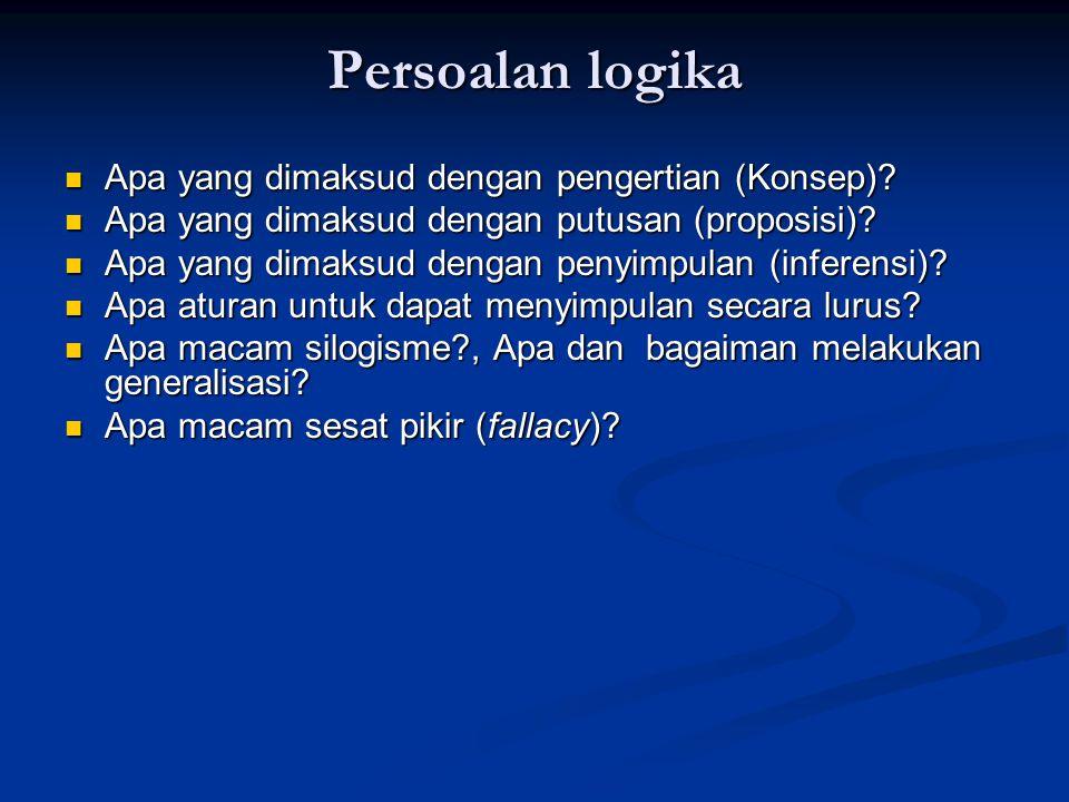 Persoalan logika Apa yang dimaksud dengan pengertian (Konsep)? Apa yang dimaksud dengan pengertian (Konsep)? Apa yang dimaksud dengan putusan (proposi