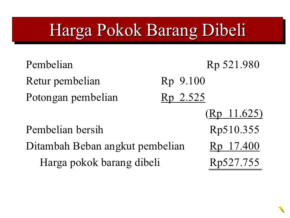 Harga Pokok Barang Dibeli PembelianRp 521.980 Retur pembelianRp 9.100 Potongan pembelianRp 2.525 (Rp 11.625) Pembelian bersihRp510.355 Ditambah Beban angkut pembelianRp 17.400 Harga pokok barang dibeliRp527.755
