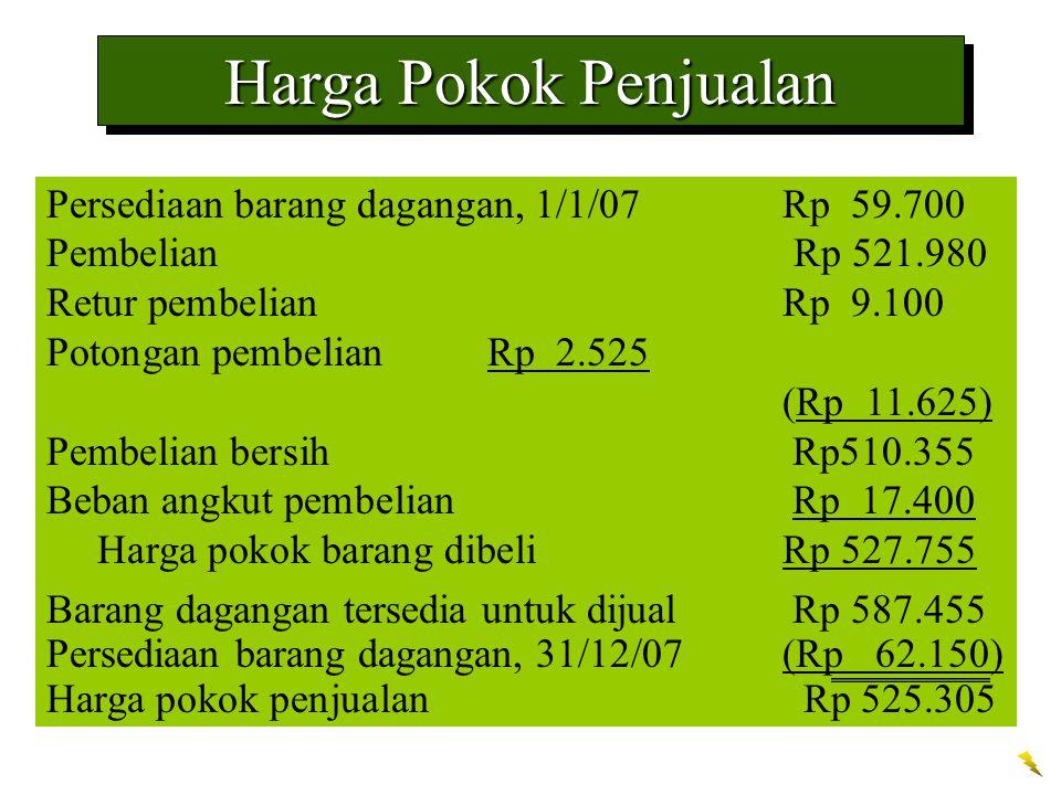 Harga Pokok Penjualan Persediaan barang dagangan, 1/1/07Rp 59.700 PembelianRp 521.980 Retur pembelianRp 9.100 Potongan pembelianRp 2.525 (Rp 11.625) P