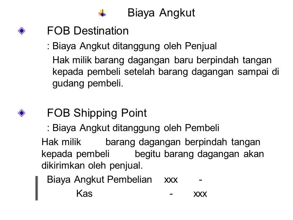 Biaya Angkut FOB Destination : Biaya Angkut ditanggung oleh Penjual Hak milik barang dagangan baru berpindah tangan kepada pembeli setelah barang daga