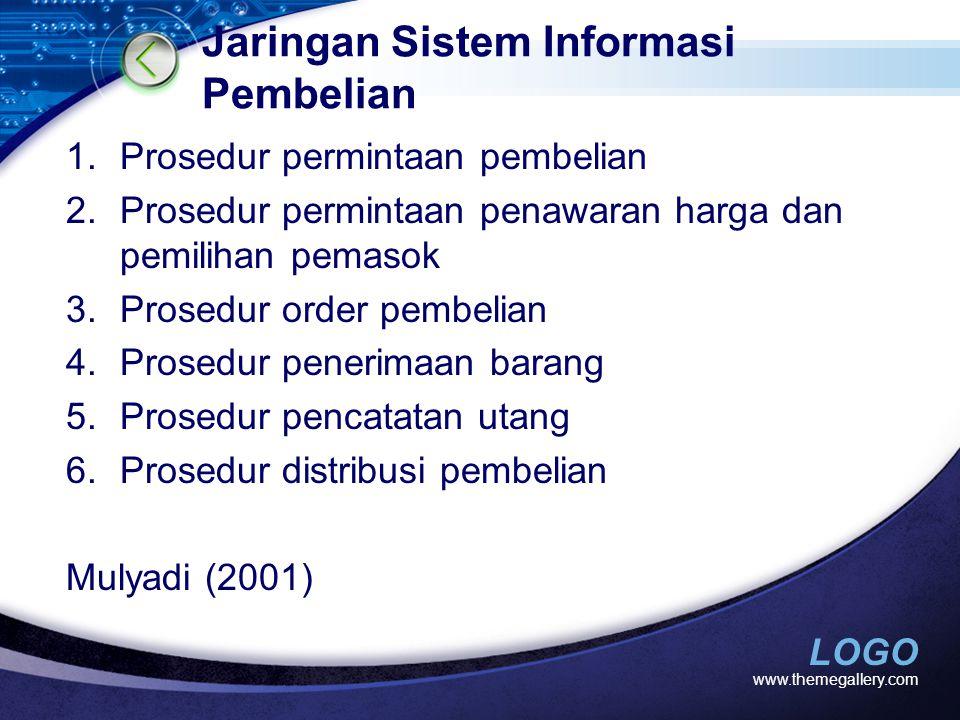 LOGO Jaringan Sistem Informasi Pembelian 1.Prosedur permintaan pembelian 2.Prosedur permintaan penawaran harga dan pemilihan pemasok 3.Prosedur order