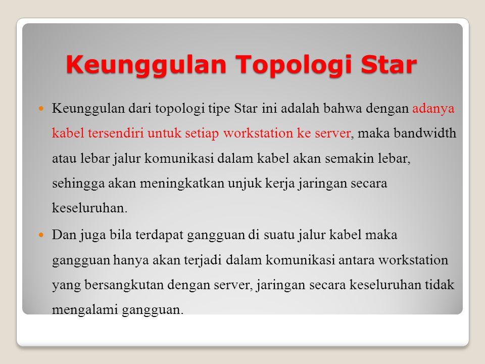 Keunggulan Topologi Star Keunggulan dari topologi tipe Star ini adalah bahwa dengan adanya kabel tersendiri untuk setiap workstation ke server, maka bandwidth atau lebar jalur komunikasi dalam kabel akan semakin lebar, sehingga akan meningkatkan unjuk kerja jaringan secara keseluruhan.